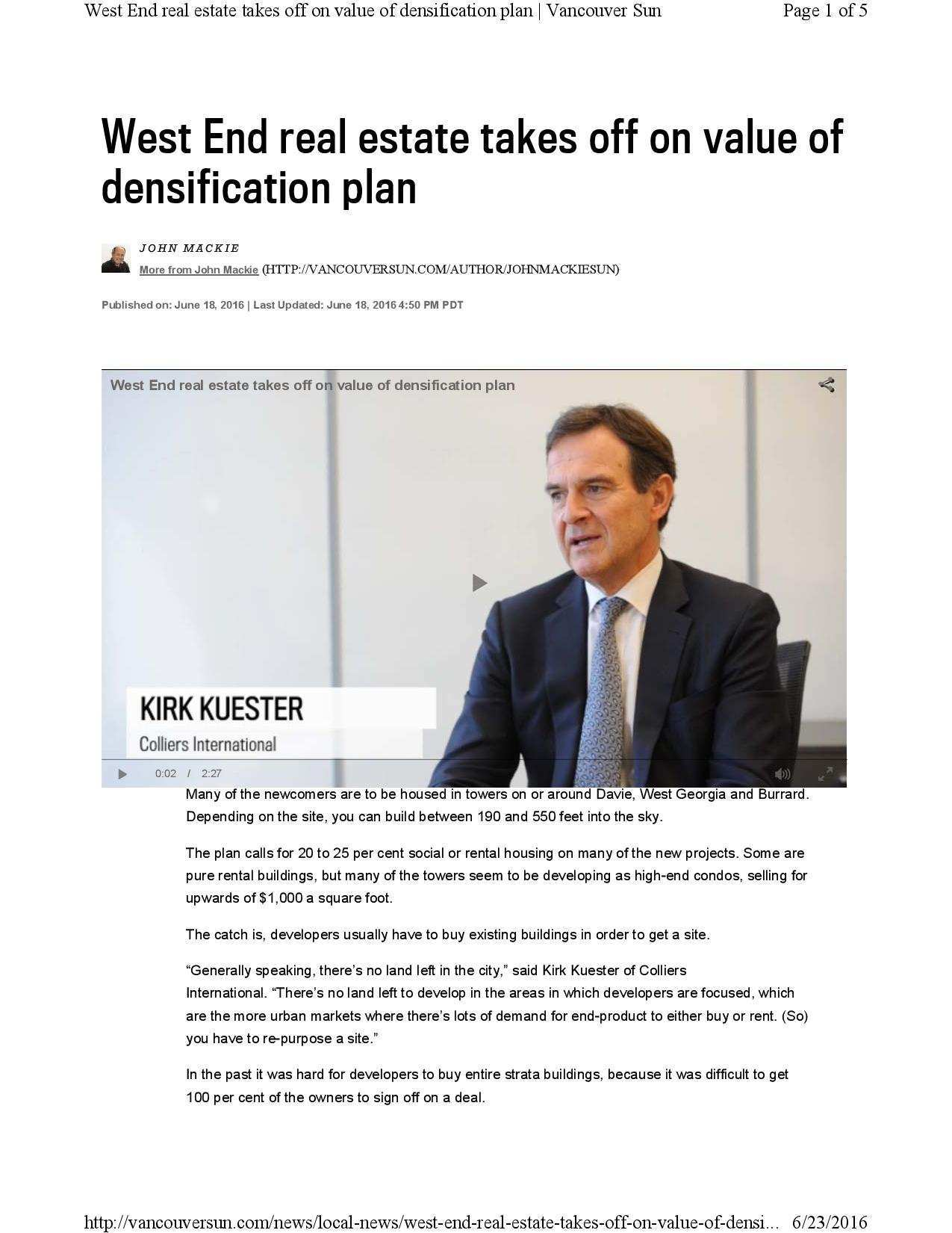 Feature Article: West End Real Estate Takes Off on Value of Densification Plan