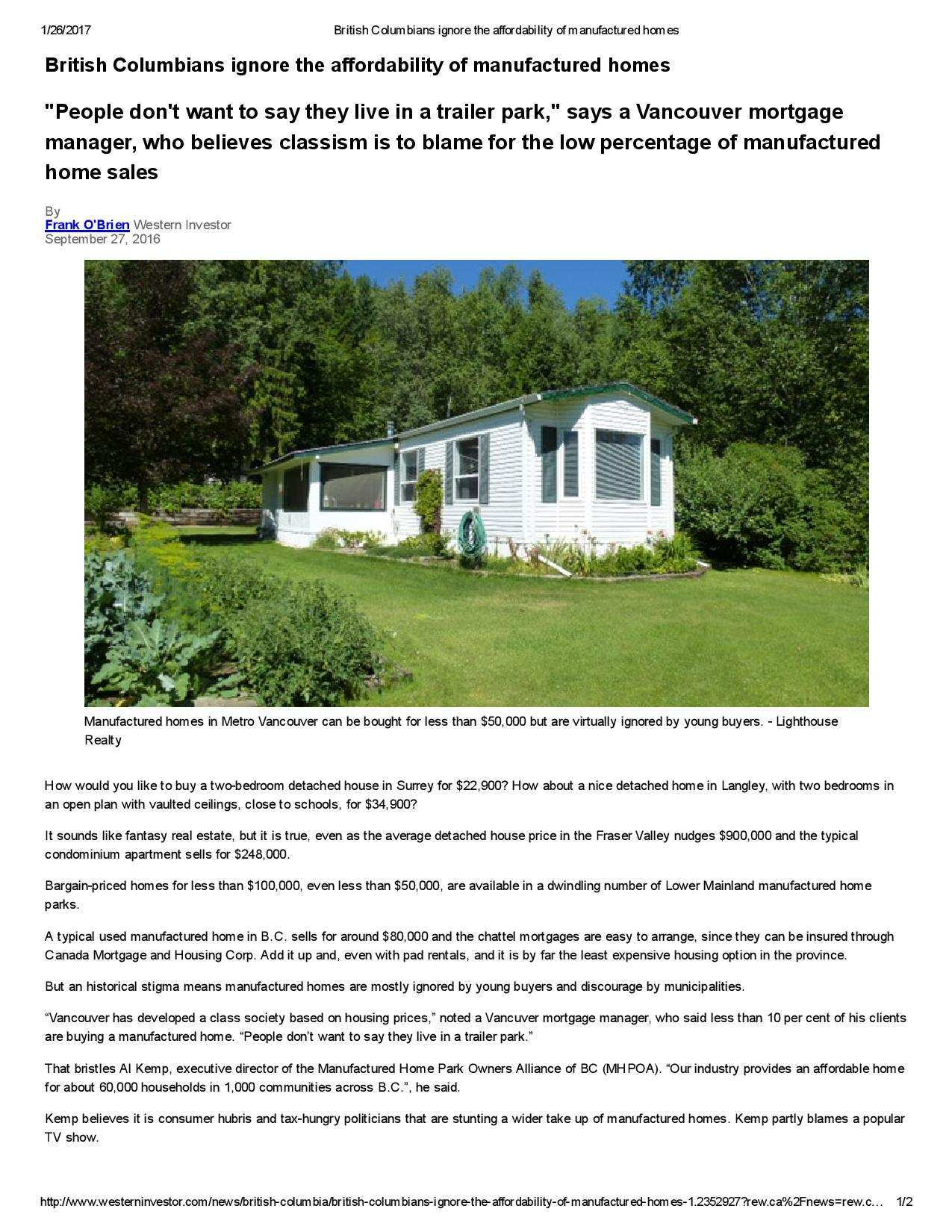 British Columbians ignore the affordability of manufactured homes