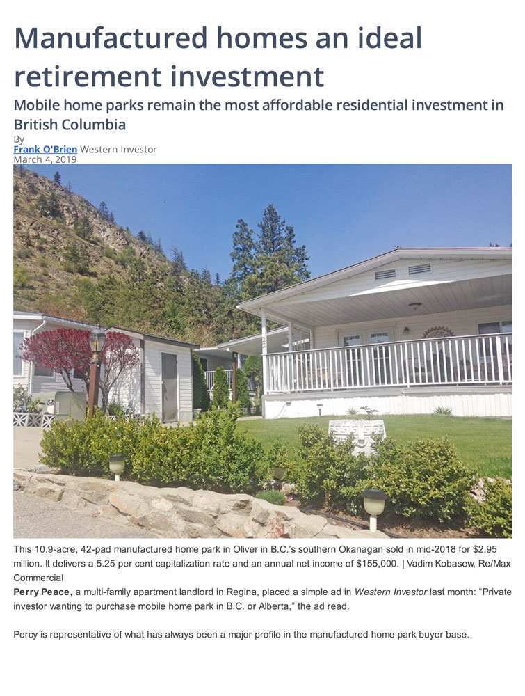 "Eugen Klein in the News – ""Manufactured Homes an Ideal Retirement Investment"""