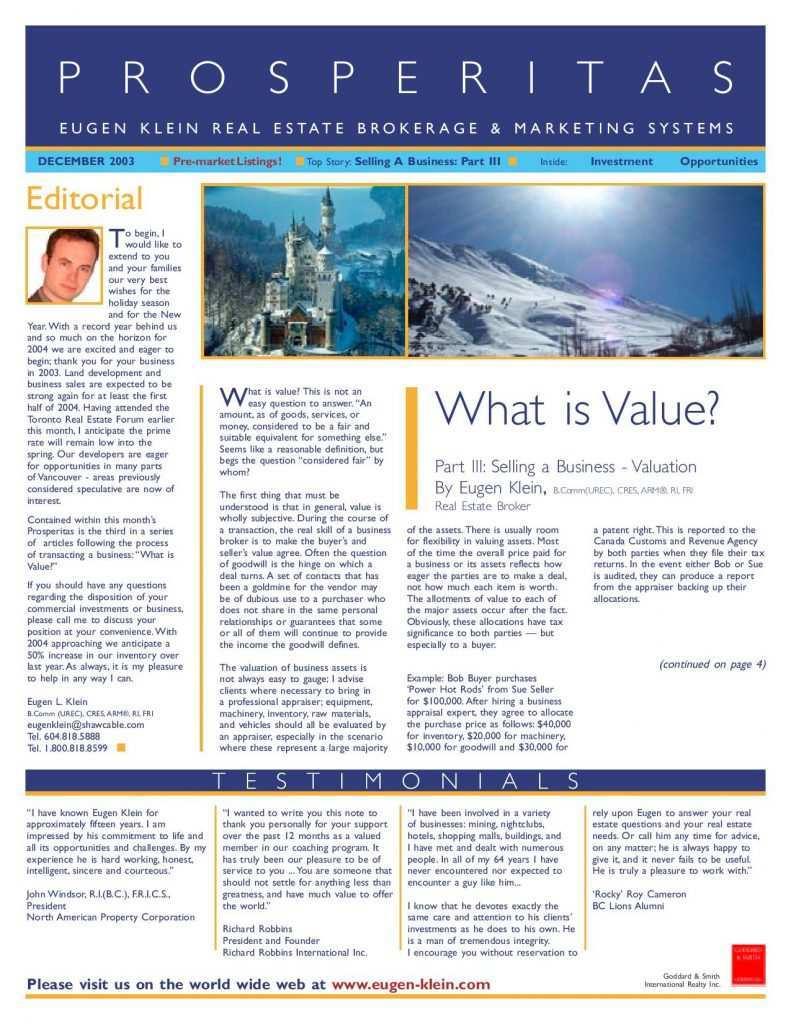 Prosperitas 2003 December Article