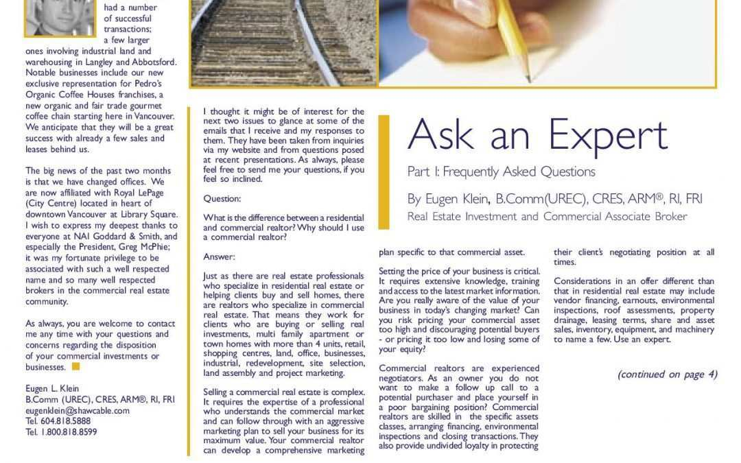 Feature Article: Ask an Expert Part I: Frequently Asked Questions