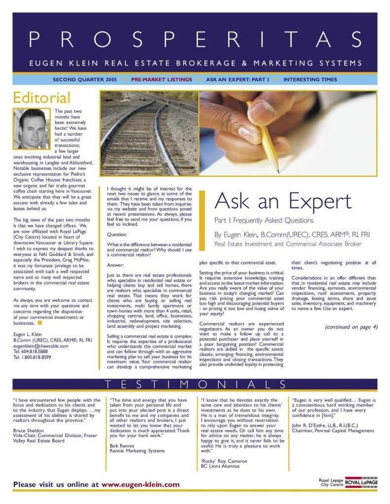Prosperitas 2005 Q2 Ask an Expert Article