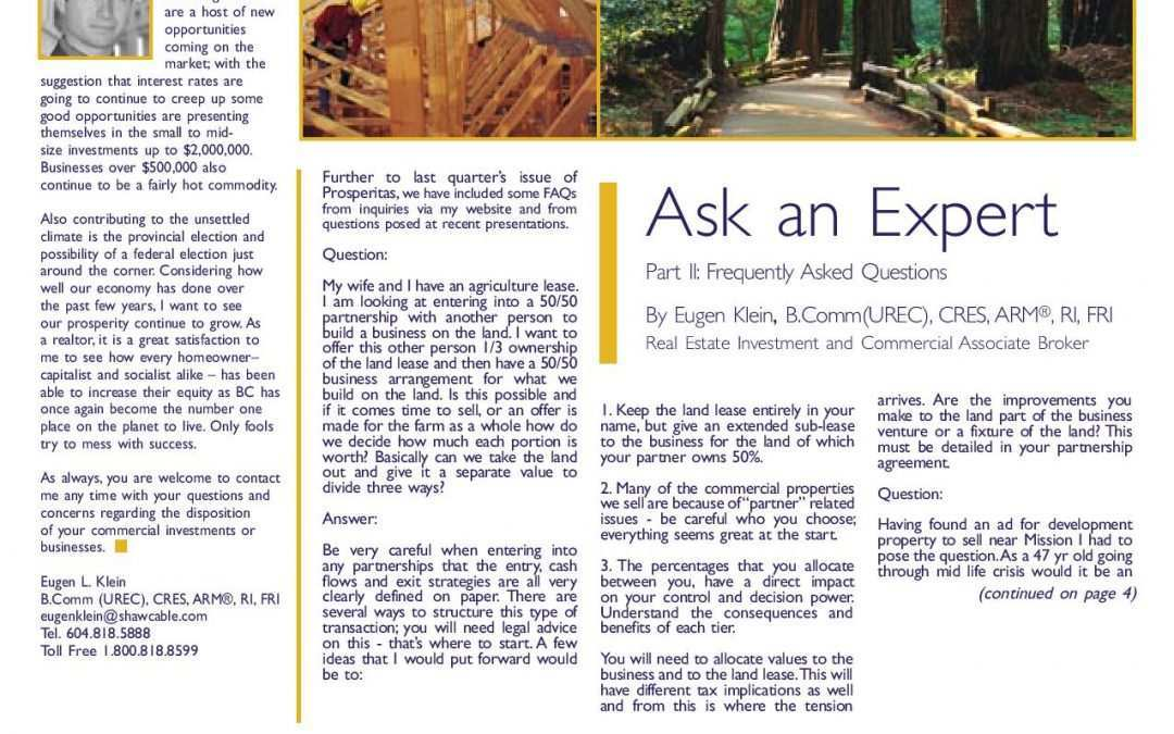 Feature Article: Ask an Expert Part II: Frequently Asked Questions
