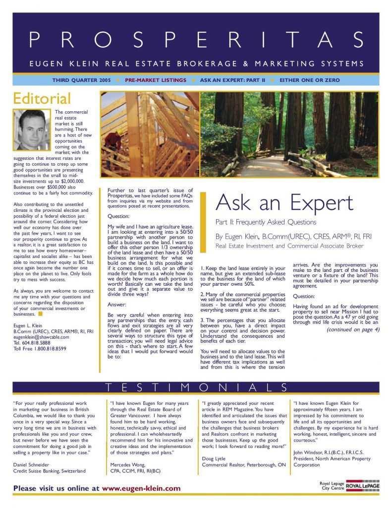 Prosperitas 2005 Q3 Ask an Expert Article