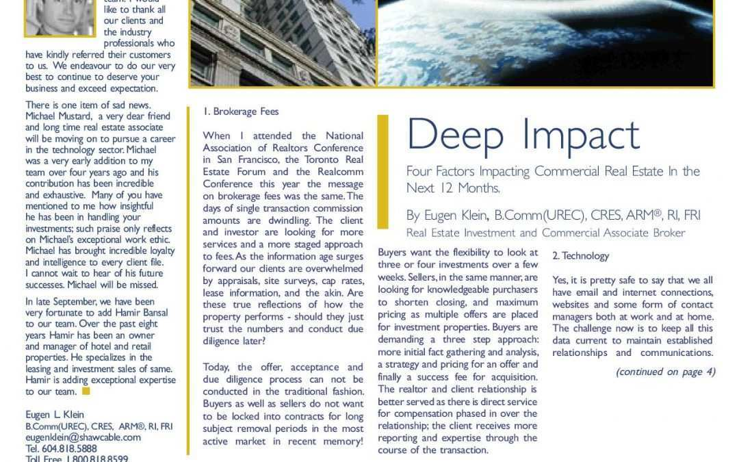 Feature Article: Deep Impact: Four Factors Impacting Commercial Real Estate In the Next 12 Months