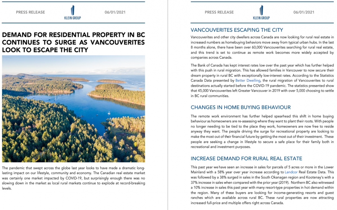 Media Release: Demand for Residential Property in BC Continues to Surge as Vancouverites Look to Escape the City